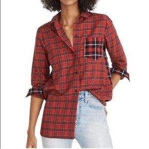 Madewell NWT Red Plaid Classic Ex Boyfriend Shirt